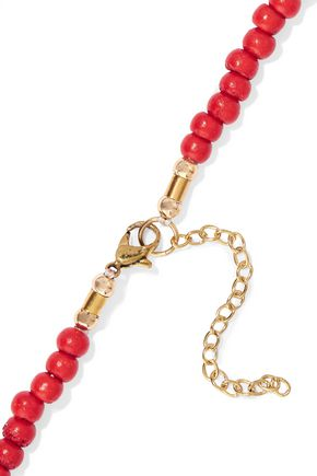 KENNETH JAY LANE Gold-tone bead and resin necklace