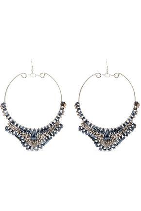 KENNETH JAY LANE Silver-tone beaded earrings