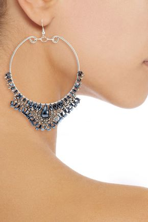 KENNETH JAY LANE Silver-tone beaded earrings