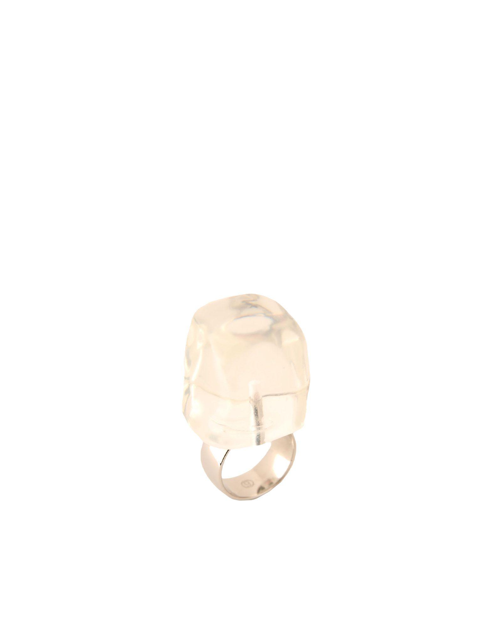 《送料無料》MM6 MAISON MARGIELA レディース 指輪 クリア S アクリル 100% / 真鍮/ブラス