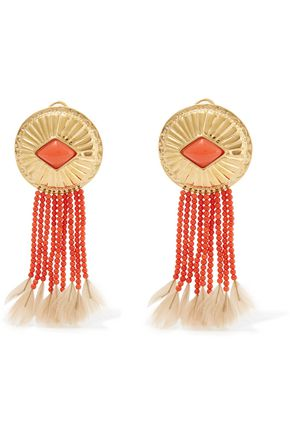 AURÉLIE BIDERMANN Gold-plated, coral and feather clip earrings