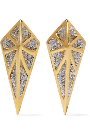 NOIR JEWELRY Hidden gold-tone crystal earrings
