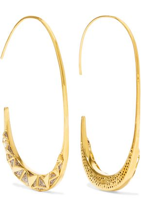 NOIR JEWELRY Trapped gold-tone crystal earrings