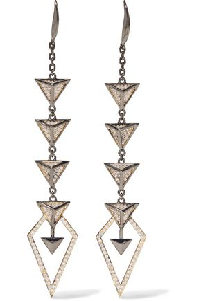 NOIR JEWELRY Hostage gunmetal-tone crystal earrings