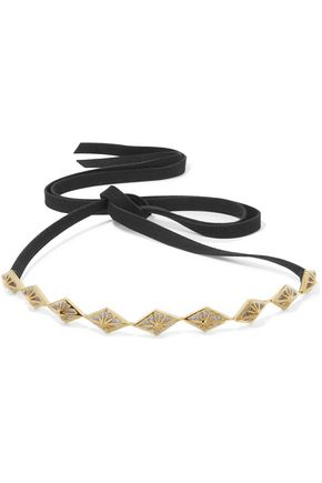 NOIR JEWELRY Faux suede gold-tone crystal choker