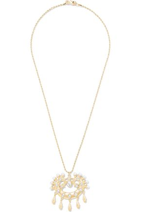 KENNETH JAY LANE Gold-tone faux pearl necklace