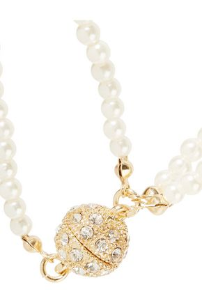 KENNETH JAY LANE Gold-tone, faux pearl and crystal necklace