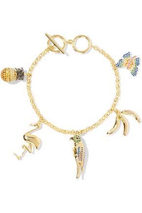 NOIR JEWELRY Gold-tone crystal charm bracelet