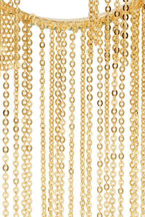 NOIR JEWELRY Gold-tone stone hoop earrings