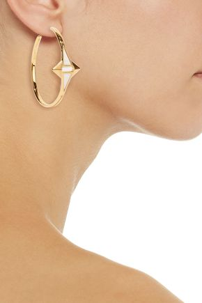 NOIR JEWELRY Gold-tone enamel earrings