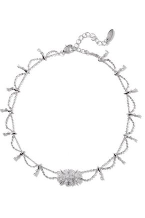 NOIR JEWELRY Silver-tone crystal necklace