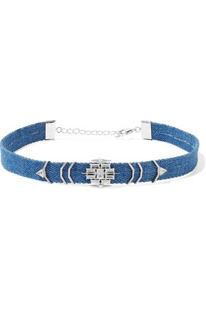 NOIR JEWELRY Silver-tone denim and crystal choker