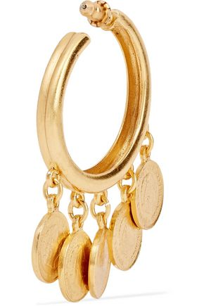 BEN-AMUN Gold-tone charm hoop earrings