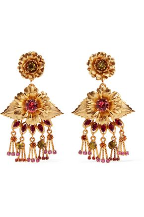 ELIZABETH COLE Edwina 24-karat gold-plated Swarovski crystal earrings
