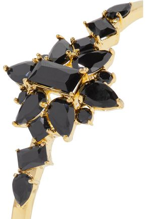 NOIR JEWELRY Set of two gold-tone cubic zirconia cuffs