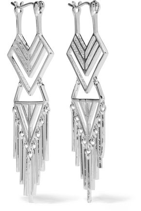 NOIR JEWELRY Aztec silver-tone earrings
