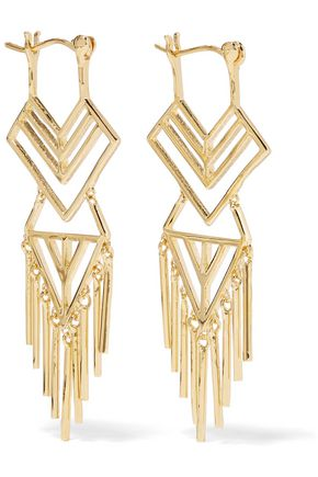 NOIR JEWELRY Aztec gold-tone earrings