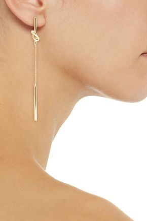 KENNETH JAY LANE Knotted gold-tone earrings
