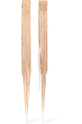 KENNETH JAY LANE Fringed gold-tone earrings