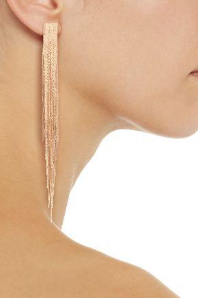 KENNETH JAY LANE Fringed gold-tone earrings