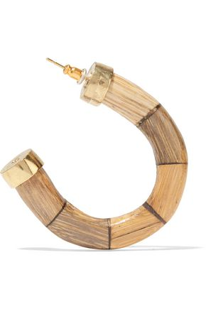 KENNETH JAY LANE Gold-plated faux bamboo earrings