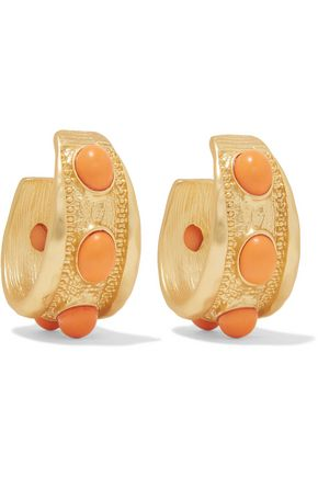 KENNETH JAY LANE Gold-plated stone hoop earrings