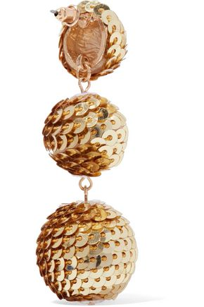 KENNETH JAY LANE Gold-tone sequined earrings
