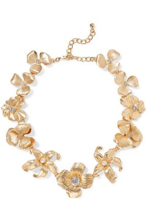 KENNETH JAY LANE Gold-tone crystal faux pearl necklace