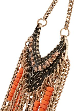 KENNETH JAY LANE Gold-tone crystal and beaded earrings