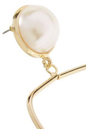 KENNETH JAY LANE Gold-tone faux pearl earrings