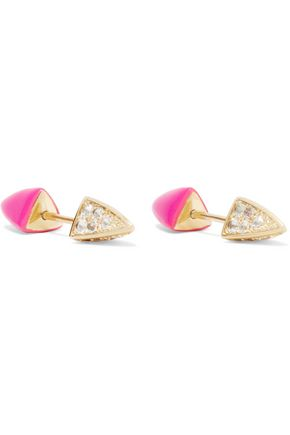 ELIZABETH AND JAMES Vogel gold-plated crystal-embellished enamel studs