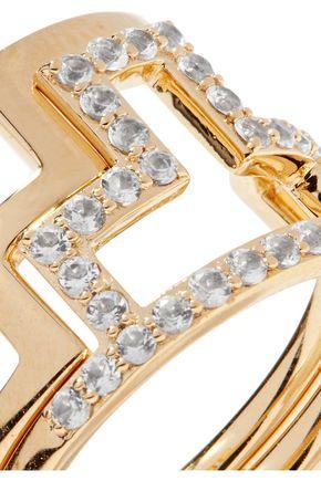 ELIZABETH AND JAMES Erte set of two gold-tone crystal rings