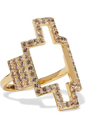 ELIZABETH AND JAMES Kota gold-tone crystal ring