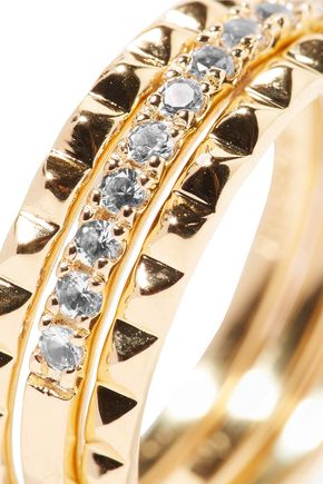 ELIZABETH AND JAMES Delgado set of three gold-tone topaz rings