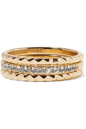 ELIZABETH AND JAMES Delgado set of three gold-tone topaz rings