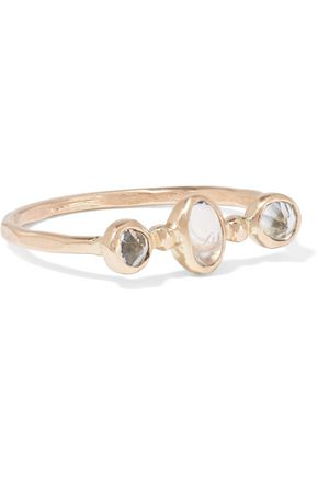 MELISSA JOY MANNING 14-karat gold, topaz and moonstone ring