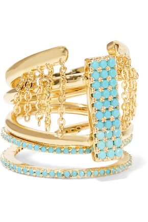 NOIR JEWELRY Set of three gold-tone turquoise rings