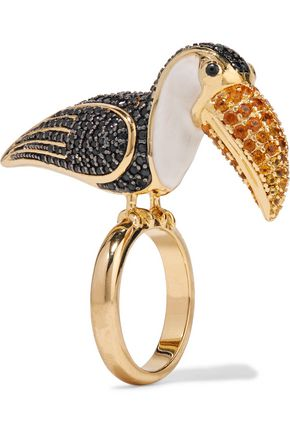 NOIR JEWELRY Gold-tone crystal and enamel ring
