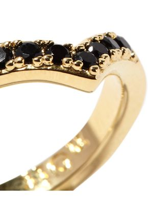 NOIR JEWELRY Jack Frost set of three gold-plated crystal rings