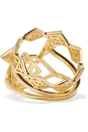 NOIR JEWELRY Aztec set of three gold-tone rings