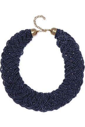 KENNETH JAY LANE Beaded gold-tone necklace