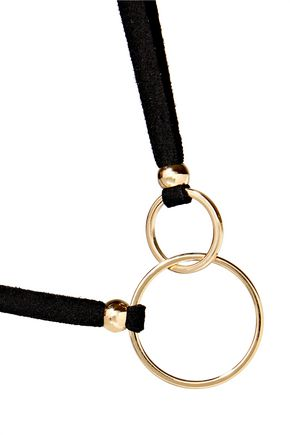 KENNETH JAY LANE Gold-tone suede necklace