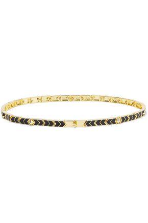 NOIR JEWELRY Gold-tone enamel necklace