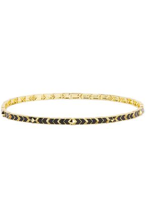 NOIR JEWELRY Gold-tone enamel necklace