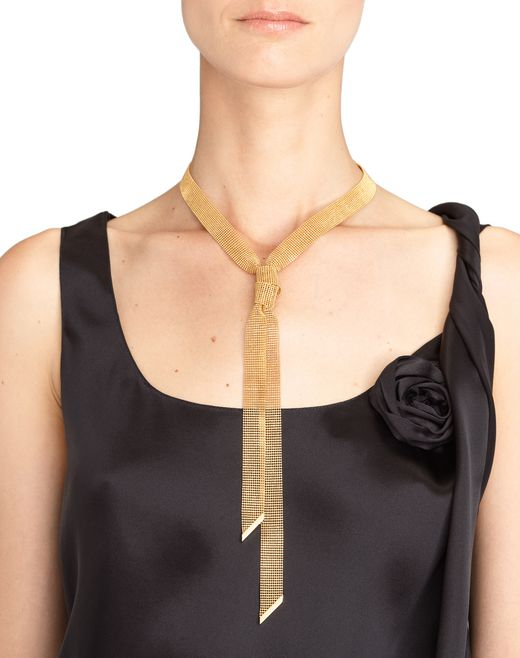 lanvin ribbon chain necklace women