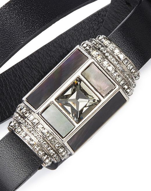 JEWEL AND LEATHER BRACELET - Lanvin