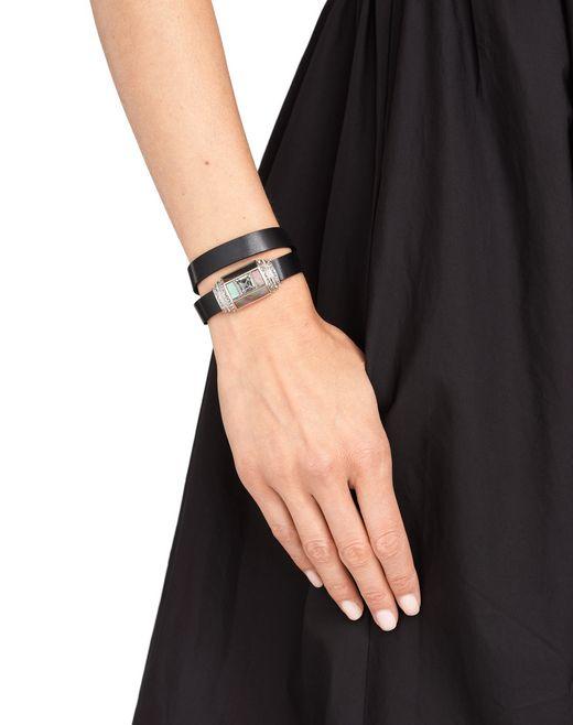 lanvin jewel and leather bracelet women