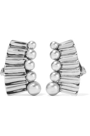 OSCAR DE LA RENTA Silver-tone faux pearl earrings
