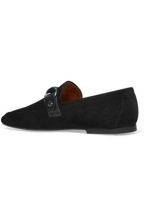 ISABEL MARANT Farlow leather-trimmed suede loafers