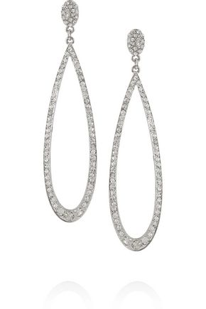 KENNETH JAY LANE Rhodium-plated crystal earrings